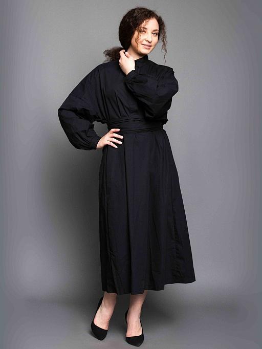 50f728967b749ae картинка Платье с длинным поясом (чёрный) от интернет магазина